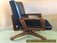 GUNLOCKE MID CENTURY Modern DANISH OFFICE ARM CHAIR Wood Faux Leather Vintage