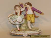 Antique Muller Dresden Volkstedt Porcelain Figurine Children Playing (AS IS)